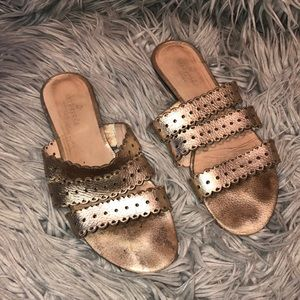 Kate spade gold metallic strappy slide sandal 8.5